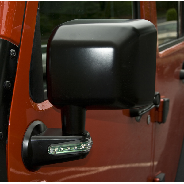Rugged Ridge Door Mirror Kit w/ Led Signals, Black - Driver Side - JK 2007-12
