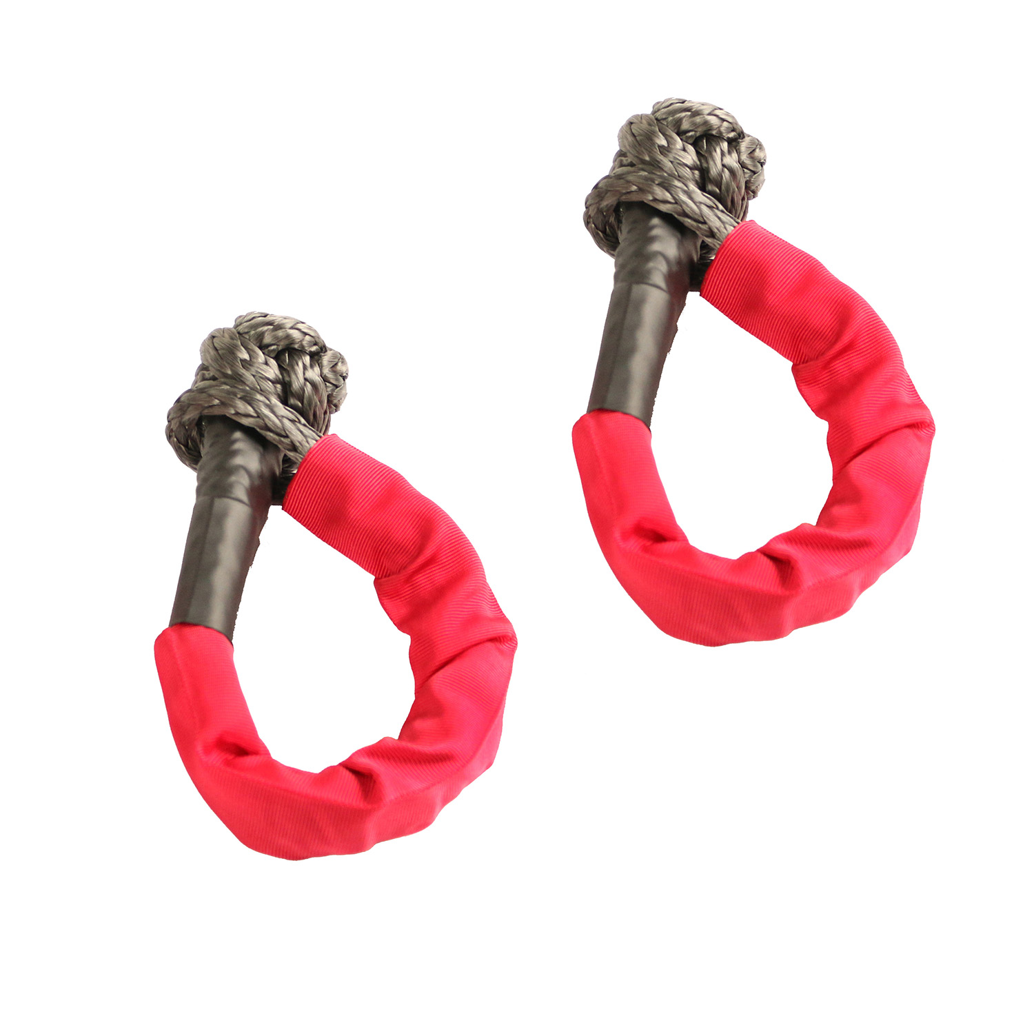 Rugged Ridge 7/16-Inch Soft Rope Shackle, Red Pair