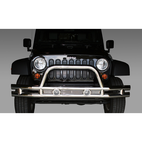 Rugged Ridge Tube Front Bumper, 3 Inch, Stainless Steel - JK