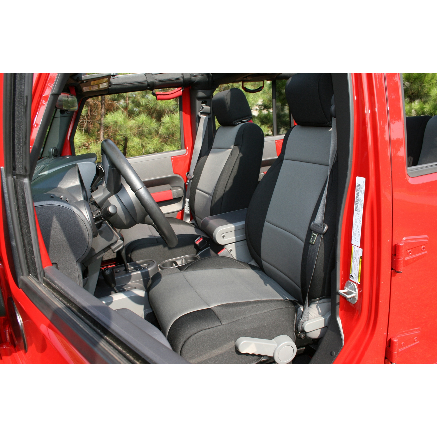 Rugged Ridge Front Seat Covers Black/Grey - JK 2007-10