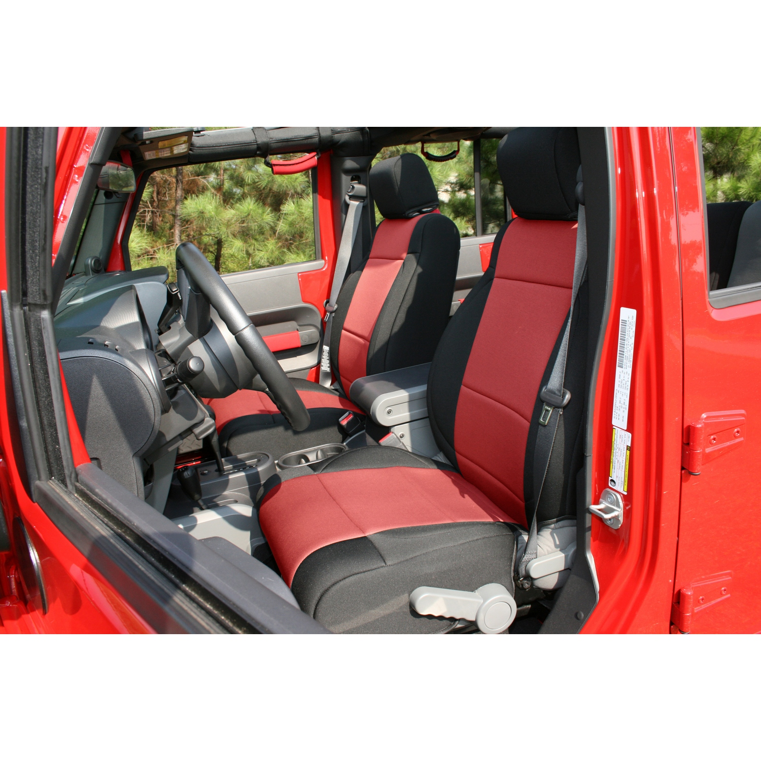 Rugged Ridge Front Seat Covers Black/Red - JK 2007-10