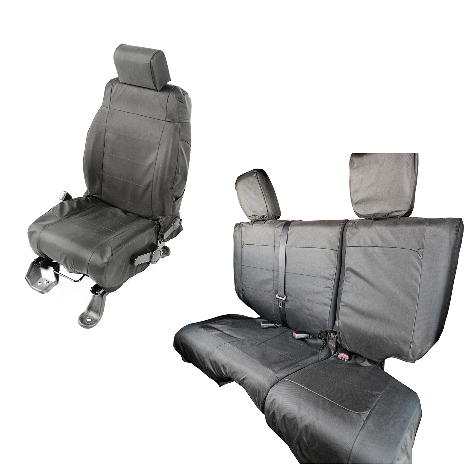 Rugged Ridge Ballistic Seat Cover Set Black - JK 4dr 2007-10