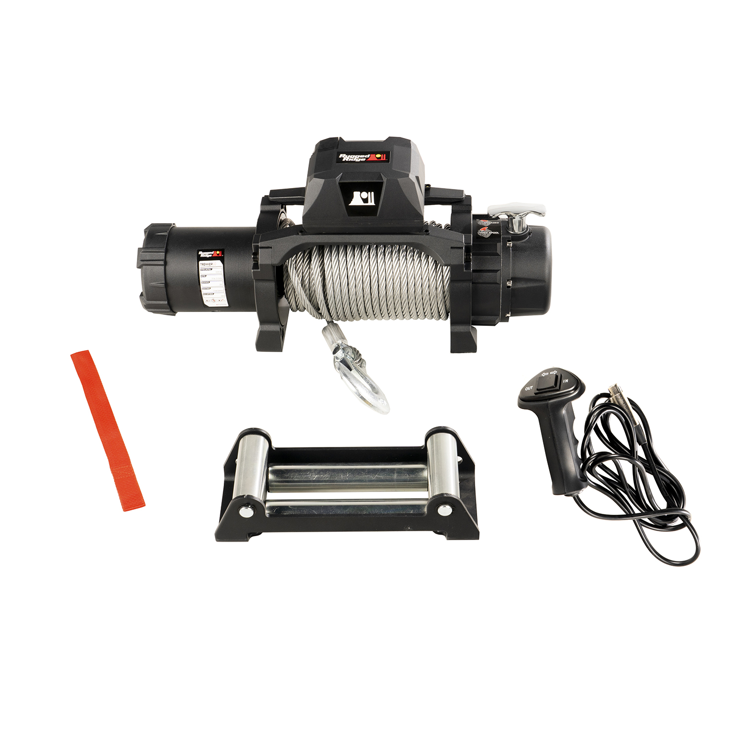 Rugged Ridge 10,000lbs Trekker Winch w/ Steel Cable and Wired Remote